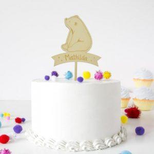 Cake Topper - Eisbär mit Namen
