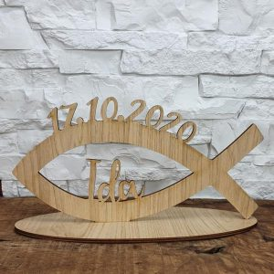 Tischaufsteller - Fisch mit Namen und Datum