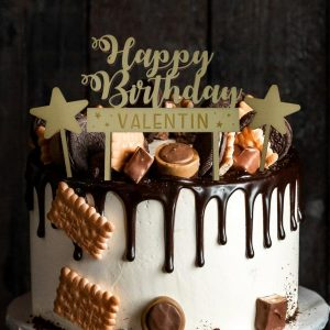 Cake Topper Happy Birthday Holz